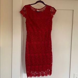 Gorgeous crochet overlay red dress
